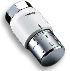 Термостатическая головка Oventrop Uni SH, артикул 1012065, белая с хромированием, 7-28 С, с нулевой отметкой