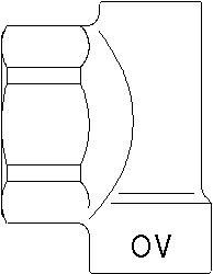 """Концевая пробка для коллектора Oventrop 1"""", латунь, выход под воздухоотводчик 3/8 ВР, отвод на шаровой кран 1/2 ВР, артикул 1400691"""