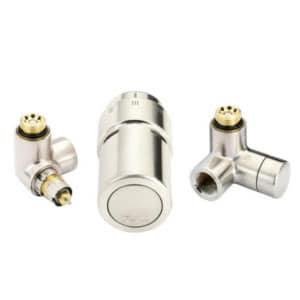 """Терморегулирующий комплект X-tra Danfoss для полотенцесушителей, артикул 013G4010, 1/2"""", нержавеющая сталь, для подключения терморегулятора слева, запорного клапана справа"""