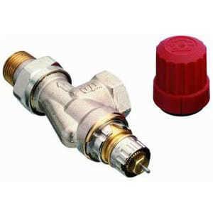 Клапан для гравитационных систем Danfoss, серия RA-N Press, Ду 15, угловой, версия UK, никелированный, для прессового соединения, 013G3239