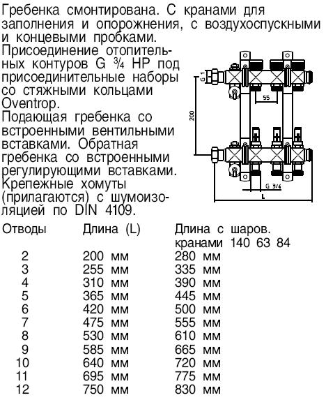 """Гребенка (коллектор) Oventrop для теплых полов Multidis SF 1"""", нерж. сталь, на 2 контура 3/4"""", артикул 1404052, с вентильными вставками"""