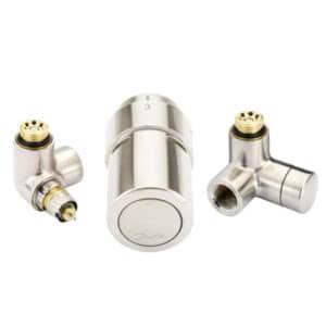 """Терморегулирующий комплект RTX set Danfoss для полотенцесушителей, артикул 013G4139, 1/2"""", нержавеющая сталь,  для подключения терморегулятора слева, запорного клапана справа"""