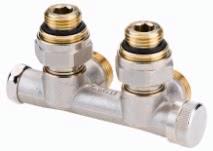 Клапан Danfoss RLV-KD угловой 1/2x3/4 с переходниками, артикул 003L0242, для нижнего подключения радиаторов
