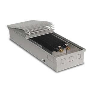 Внутрипольный конвектор PrimoClima PCVN125-1250 с вентилятором, решетка из алюминия анодированного в натуральный цвет