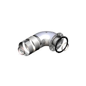 Groppalli колено коаксиальное 90° с инспекционными отверстиями с фланцевым присоединение 8/11х5/Ø138, Ø 60/100мм , арт: A03.001.000894