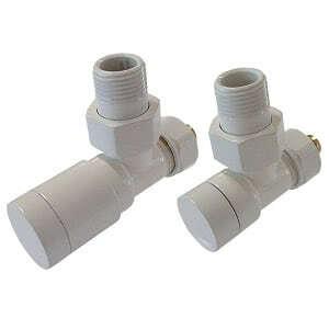 Комплект клапанов ручной регулировки SCHLOSSER Elegant для стальных труб GZ 1/2 х GW 1/2 белый (угловой), арт. 604200101
