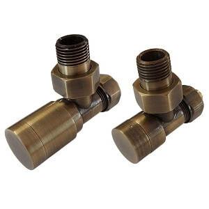 Комплект клапанов ручной регулировки SCHLOSSER Elegant для стальных труб GZ 1/2 х GW 1/2 античная латунь (угловой), арт. 604200105