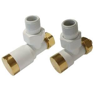 Комплект клапанов ручной регулировки SCHLOSSER Elegant для стальных труб GZ 1/2 х GW 1/2 белый золото (угловой), арт. 604200110