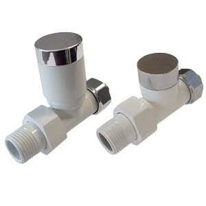 Комплект клапанов ручной регулировки SCHLOSSER Elegant для медных труб GZ 1/2 х 15х1 белый-хром (прямой), арт. 604200025
