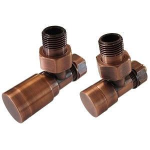 Комплект клапанов ручной регулировки SCHLOSSER Elegant для медных труб GZ 1/2 х 15х1 античная медь (угловой), арт. 604200041