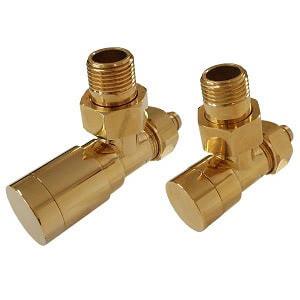 Комплект клапанов ручной регулировки SCHLOSSER Elegant для медных труб GZ 1/2 х 15х1 золото (угловой), арт. 604200049