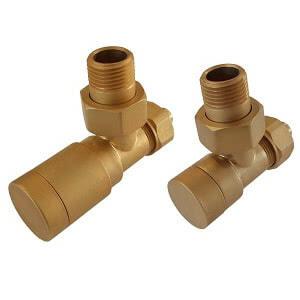 Комплект клапанов ручной регулировки SCHLOSSER Elegant для медных труб GZ 1/2 х 15х1 золотой матовый (угловой), арт. 604200051