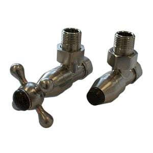 Комплект клапанов с ручной регулировкой SCHLOSSER Elegant Style для медных труб GZ 1/2 х 15х1 сталь (угловой, с деревом), арт. 604800019