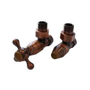 Комплект клапанов с ручной регулировкой SCHLOSSER Elegant Style для медных труб GZ 1/2 х 15х1 античная медь (угловой, с деревом), арт. 604800025