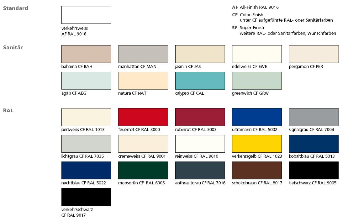 Цветовая палитра стальных трубчатых радиаторов Arbonia