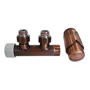 Комплект SCHLOSSER DUO-PLEX 3/4 х M22х1,5 античная медь (угловой, правый), арт. 602100017