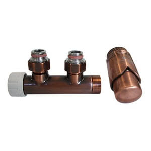 Комплект SCHLOSSER DUO-PLEX 3/4 х M22х1,5 античная медь (угловой, левый), арт. 602100019