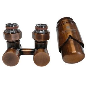 Комплект термостатический эксклюзивный SCHLOSSER 3/4 х M22х1,5 античная медь (фигура угловая), арт. 601000036