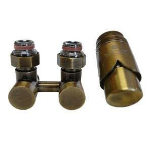 Комплект термостатический эксклюзивный SCHLOSSER 3/4 х M22х1,5 античная латунь (фигура прямая), арт. 601000041