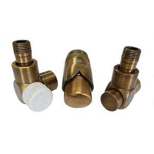 Комплект термостатический SCHLOSSER Exclusive 6017, осевой левый античная латунь, для пластиковой трубы GZ 1/2 х 16х2, арт. 601700148