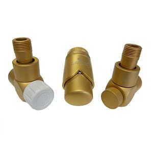Комплект термостатический SCHLOSSER Exclusive 6017, осевой левый золото мат., для стальной трубы GZ 1/2 х GW 1/2, арт. 601700163