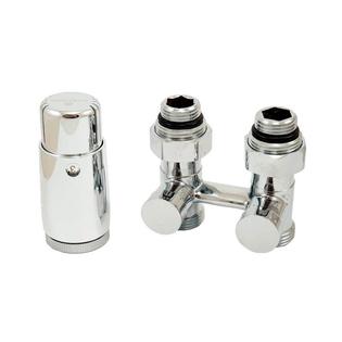Комплект Schlosser: узел нижнего подключения прямой, хром, G 3/4 x 3/4 D=50 мм с термоголовкой MINI