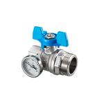 Кран шаровый Oventrop DN 25 G 1 ВР х G 1 НР, плоское уплотнение, с термометром, синий маховик