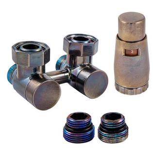 Комплект Schlosser: эксклюзивный узел подключения 50мм угловой с термоголовкой Technoline 3/4x22x1,5