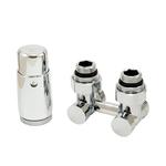 Комплект Schlosser: узел нижнего подключения угловой, хром, G 3/4 x 3/4 D=50 мм с термоголовкой MINI