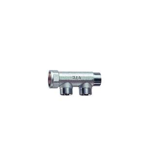 Коллектор FAR хромированный проходной (ВР-НР) с 2 отводами (НР)