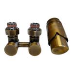 Комплект Schlosser: эсклюзивный узел подключения проходной 50 мм с термоголовкой, Латунь Антик