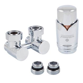 Комплект Schlosser: эксклюзивный узел подключения 50 мм с термоголовкой, проходной 3/4xМ22x1,5, Хром