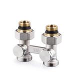 Прямой Н-образный клапан SR Rubinetterie для нижнего подключения отопительных приборов, Никель