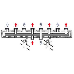 Стальной коллектор HOOBS 4 выхода, длина 1050 мм, в комплекте с теплоизоляцией и креплением