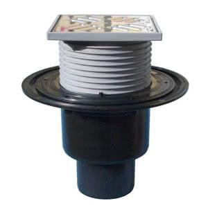 Трап HL для внутренних помещений с решеткой в подрамнике, высотой гидрозатвора 50мм, с вертикальным выпуском HL310N