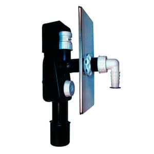Встроенный сифон HL для стиральной или посудомоечной машины с обратным клапаном, с прочисткой, с декоративной пластиной из нержавеющей стали 108х225 мм, с воздушным клапаном HL902 для бесшумной работы устройства HL404.1