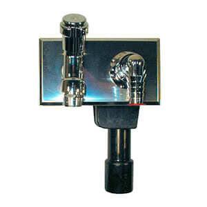 Встроенный сифон HL для стиральной или посудомоечной машины, с монтажной плитой и декоративной пластиной из нержавеющей стали с никелированным вентилем для подсоединения к водопроводной сети HL406