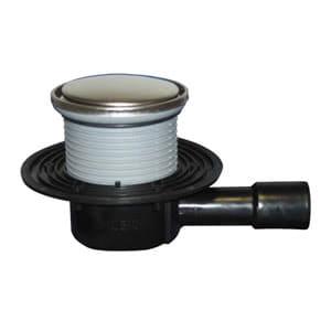 """Трап HL для внутренних помещений с круглой решеткой в металлическом подрамнике, с """"сухим"""" сифоном """"Primus"""", с горизонтальным выпуском HL510NPrR"""