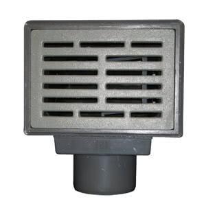 Трап HL для подвалов и технических помещений с решеткой в подрамнике, с грязесборником и лючком-прочисткой, высотой гидрозатвора и горизонтальным выпуском HL71G