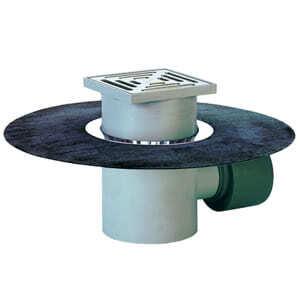 Трап HL для подвалов и технических помещений с решёткой в подрамнике, с гидроизоляционным полимербитумным полотном, с сеткой для улавливания мусора, высотой гидрозатвора и горизонтальным выпуском HL72.1H
