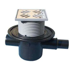 Трап HL для внутренних помещений с обратным клапаном для предотвращения затопления помещения через решётку трапа, с решеткой в подрамнике HL300