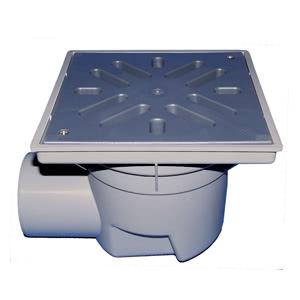 Трап HL для гаража, двора с пластиковой решеткой в подрамнике с незамерзающим запахозапирающим устройством, грязеуловителем HL605L