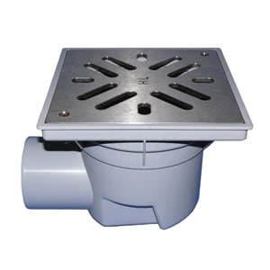 Трап HL для гаража, двора со стальной решеткой в подрамнике с незамерзающим запахозапирающим устройством, грязеуловителем HL605S