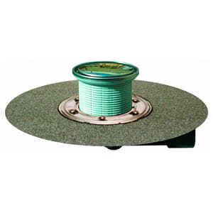 Трап HL для внутренних помещений с круглой решеткой в подрамнике из нержавеющей стали, с полимербитумным полотном, с поворотным шарниром с поворотом выпускного патрубка от 0° до 90° HL80.1HR