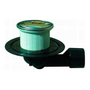 Трап HL для внутренних помещений с круглой решеткой в подрамнике из нержавеющей стали, с поворотным шарниром, с поворотом выпускного патрубка от 0° до 90° HL80.1R