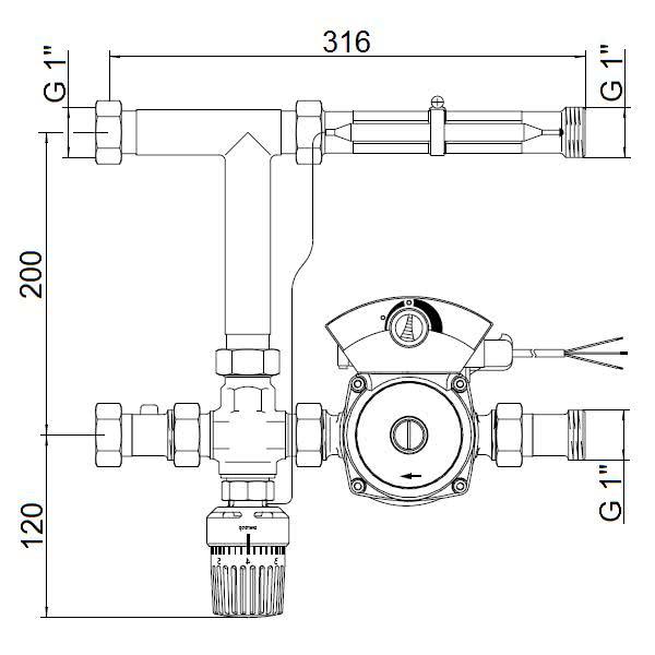 Oventrop Regufloor H (Насосно-смесительный блок для теплого пола), артикул 1151000