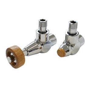 Комплект SCHLOSSER PRESTIGE, угловой античная латунь, для медных труб GW M22х1,5 х 15х1 (Корпус клапанов Exclusive, термостатическая головка с круглой деревянной рукояткой), арт. 601700222