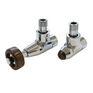 Комплект SCHLOSSER PRESTIGE, угловой античная латунь, для пластиковых труб GW M22х1,5 х 16х2 (Корпус клапанов LUX, термостатическая головка с круглой деревянной рукояткой), арт. 603700152