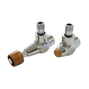 Комплект SCHLOSSER PRESTIGE, угловой античная латунь, для пластиковых труб GW M22х1,5 х 16х2 (Корпус клапанов LUX, термостатическая головка с цилиндрической деревянной рукояткой), арт. 603700252