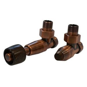 Комплект SCHLOSSER PRESTIGE, угловой античная медь, для пластиковых труб GW M22х1,5 х 16х2 (термостатическая головка с круглой деревянной рукояткой), арт. 604500110